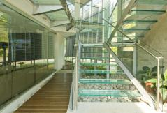 Front hall with glass staircase